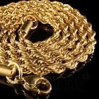 yellow gold necklaces - 18K IP Yellow Gold Plated Stainless Steel Rope Chain Link Men's Necklace