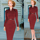 New Office Women Long Sleeve Wear To Work Bodycon Cocktail Party Pencil Dress