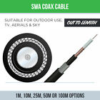 OUTDOOR SWA COAX CABLE EXTERNAL ARMOURED SATELLITE CABLE X1M,10M,25M,50M,100M