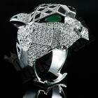 18K White Gold Plated LEOPARD ICED OUT Simulated Lab Diamond Mens Bling Ring NEW
