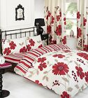 CREAM AND RED DUVET SET WITH MATCHING PILLOWS DOUBLE SIDED FLORAL AND STRIPED