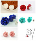 New 12mm Lapis lazuli Shell Coral Rose Flower 925 Sterling Silver Stud Earring