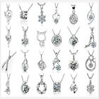New 925 Sterling Silver Creative Crystal Rhinestone Pendant Chain Necklace Gift