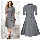 Women Vintage Retro Cocktail Party Flared Swing Skater Tea Casual Work Dress