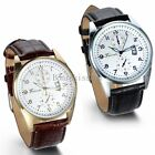 Leather Band Round Quartz Analog Elegant Classic Casual Men