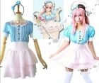 Super SONICO Blue&Pink Stripes Skirt Cosplay party Costume dress Free Shipping