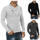 New Fashion Oblique Buttons Men T-Shirt Long Sleeve Solid Casual Slim Fit Tops