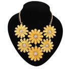 TOP Gorgeous Gold Multi-color Crystal Daisy Flower Bib Statement Collar Necklace