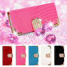Luxury Bling Diamond Magnetic Leather Flip Wallet Case Cover For Sony Xperia M2