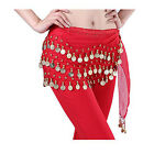 Belly Dance Hip Skirt Scarf Wrap Belt Hipscarf With Gold/Silver Coins US Seller