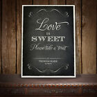 LOVE IS SWEET CANDY BAR CART BUFFET SIGN WEDDING VINTAGE CHALKBOARD STYLE -  A