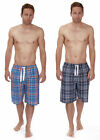 Mens 100% Cotton Pyjama Bed Shorts Long Length Check Tie Waist Navy or Sky Blue