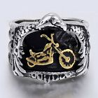 Black Silver Tone Eagle Embracing Motorcycle 316L Stainless Steel Boys Mens Ring