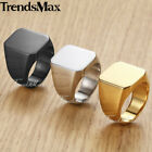 Elegant Smooth Black/Silver/Gold Square Signet 316L Stainless Steel Mens Ring