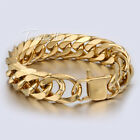 18mm Mens Chain Double Curb Rombo Link Gold Tone 316L Stainless Steel Bracelet