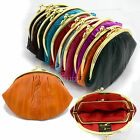 Large DOUBLE Genuine EEL SKIN LEATHER COIN PURSE Snap Closure Wallet