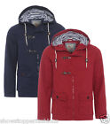 NEW Mens Premium Cotton Jacket COAT Hooded Casual Parka Size S M L XL Navy Red