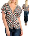 Women Ladies Open Front FloralTop with silver piping Size 14 16 1XL 2XL NEW