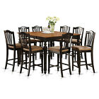 CHEL7-BLK 7 Piece Counter Height Table Set-Square pub Table and 6 counter height