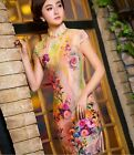 new fashion pink Chinese silk/satin Women's evening Dress Cheongsam 6.8.10.12.14