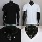 New Men's Basic V-Neck Short Sleeve Cotton comfortable T-shirts Black White