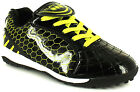 New Mens/Childrens Black/Lime Patent Pu Lace Up Astro Shoes/Boots UK SIZES