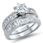 925 Sterling Silver Inlay Set Round Clear CZ Wedding 2 in 1 Love Ring Size 3-11