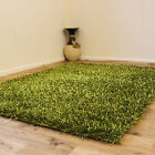 LARGE MEDIUM SMALL 3CM THICK SPAGHETTI NOODLE L GREEN COLOUR SPARKLE SHAGGY RUGS