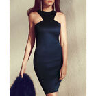 STON Women Sleeveless Navy Zip Bodycon Slim Party Wedding Dress Celebrity Style