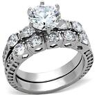 8mm Round Engagement Wedding Ring Set Size P R T 8 9 10 Stainless Steel LTK1450E