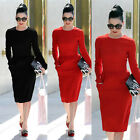 Sexy Womens Bodycon Vintage Pinup Casual Party Cocktail Pencil Sheath Midi Dress