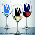 Wine Glass Stickers Man in Tux champagne glass stickers decals gift item