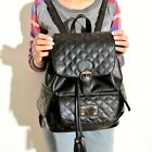 BRAND NEW Fashion Stylish Classic Big Quilted Gold Badge Korean Backpack Handbag