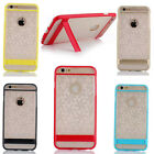Clear Color TPU Transparent Cover With Stand Case Skin For Apple iPhone 6 6Plus