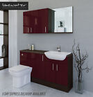 BURGUNDY / MOCHA BATHROOM FITTED FURNITURE 1500MM WITH WALL