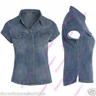 DENIM SHIRT NEW Womens Stone Wash Classic Fitted SHIRT Size 8 10 12 14 Blue jean