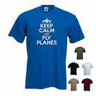 'Keep Calm and Fly Planes (plane logo)' Aeroplane Airplane Pilot T-shirt Tee