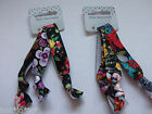Floral Printed Knotted Elastic Hair Ties x3 Red Purple Flower (357)