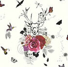 Arthouse Imagine Spellbound White & Multi Glitter Stag Birds - Wallpaper 665300
