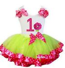 Lime Hot Pink Satin Trimmed Tutu Polka Dots 1st Cupcake Birthday Party Dress