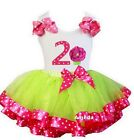 Lime Hot Pink Satin Trimmed Tutu Polka Dots 2nd Cupcake Birthday Party Dress