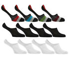 4 Pairs Mens Striped Plain Invisible Trainer Liner Socks Silicone Heel Grips