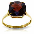 Genuine Garnet Cushion Cut Gemstone Solitaire Ring 14K. Yellow, White, Rose Gold