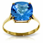 Genuine Blue Topaz Cushion Cut Gem Solitaire Ring 14K Yellow, White or Rose Gold