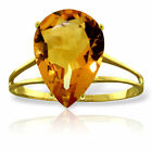Genuine Citrine Pear Cut Gemstone Solitaire Ring 14K. Yellow, White or Rose Gold