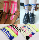 Women Girls Street Snap Ankle Fluorescence Color Socks Transparent Stripe/Stars