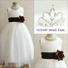 Adorable Ivory/brown wedding flower girl party dress FREE SMALL TIARA all sizes