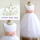 Adorable White/peach/light orange flower girl dress FREE SMALL TIARA all sizes
