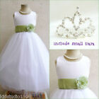 Adorable White/sage green flower girl party dress FREE SMALL TIARA all sizes