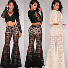 2PC Sexy Women Flared Lace Embroidered Crop Top High Waist Long Pants Party Club